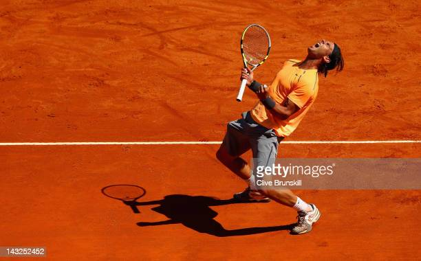 Rafael Nadal of Spain celebrates match point after his straight sets victory against Novak Djokovic of Serbia in the final during day eight of the...