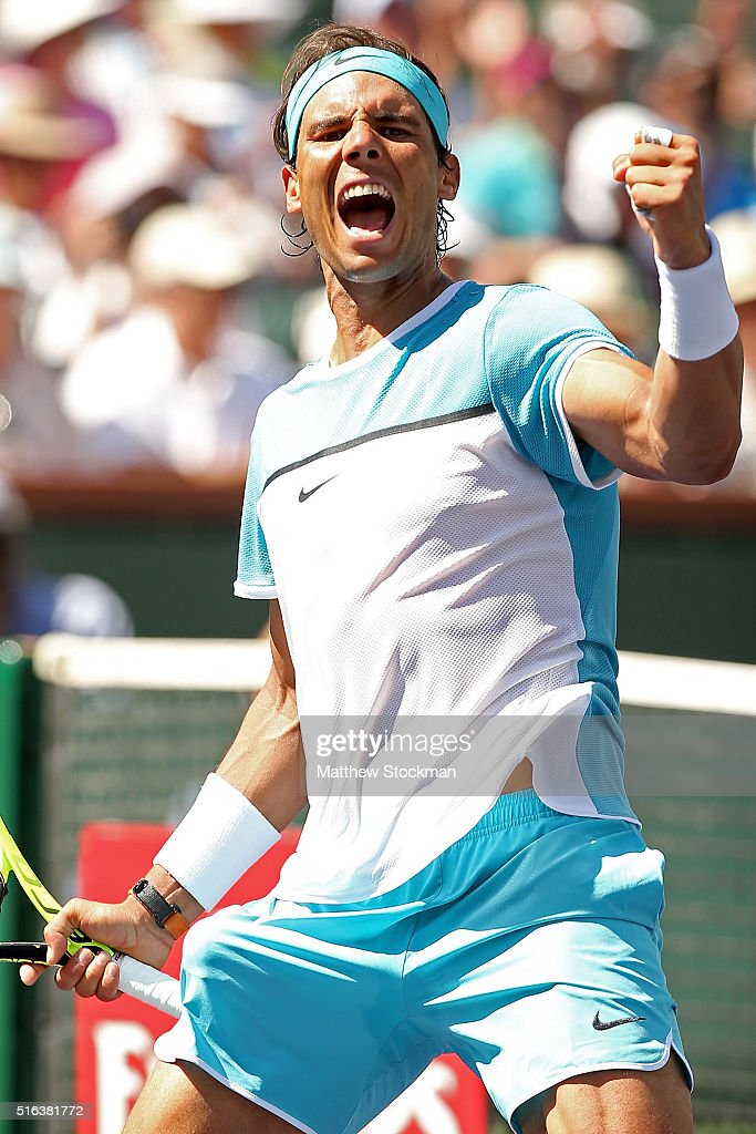 Rafael Nadal of Spain celebrates match point against Kei Nishikori of Japan during the BNP Paribas Open at the Indian Wells Tennis Garden on March 18, 2016 in Indian Wells, California.
