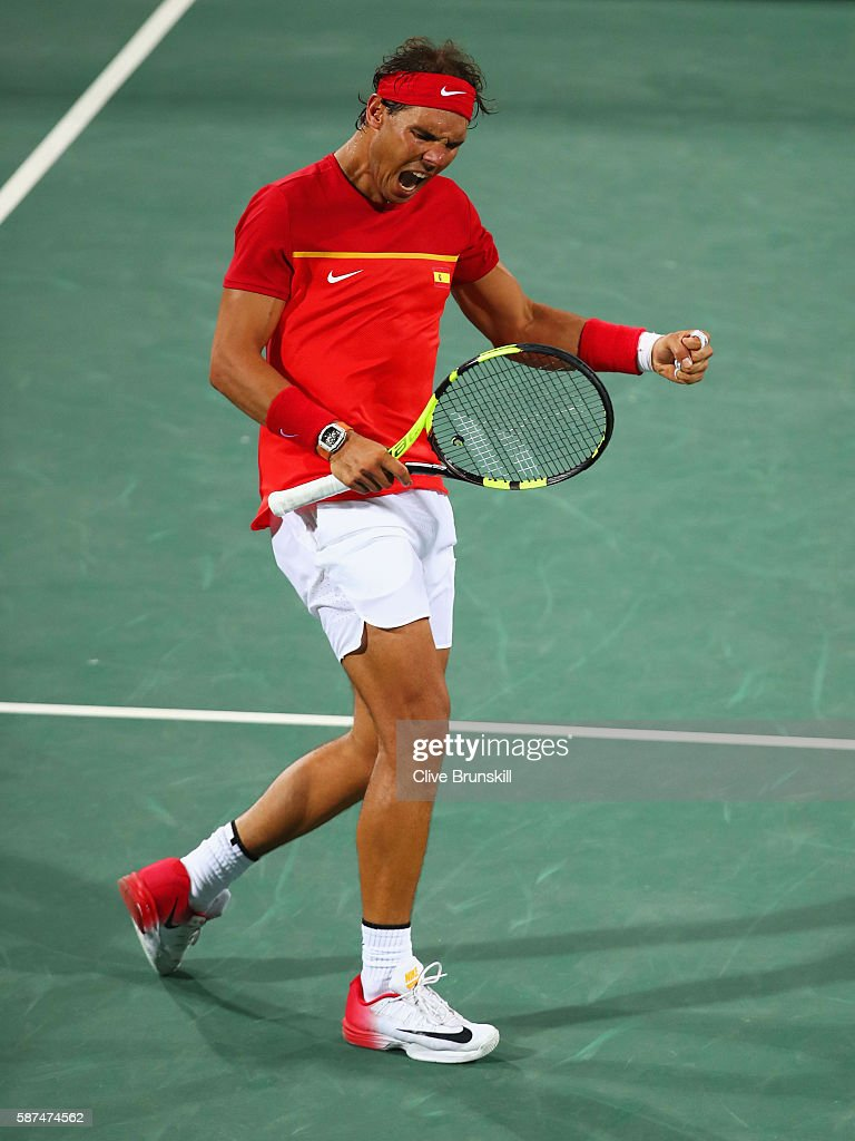 Rafael Nadal of Spain celebrates match point and victory during the Men's Doubles second round match on against Juan Martin Del Potro and Maximo Gonzalez of Argentina Day 3 of the Rio 2016 Olympic Games at the Olympic Tennis Centre on August 8, 2016 in Rio de Janeiro, Brazil.