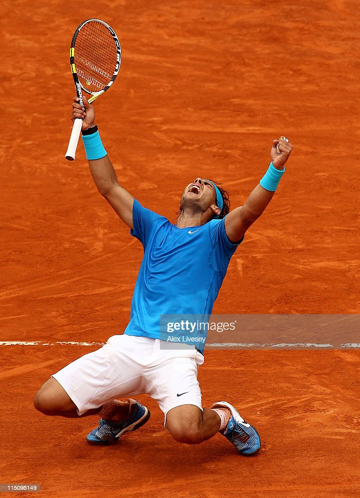 Rafael Nadal of Spain celebrates match point during the men's singles semi final match between Rafael Nadal of Spain and Andy Murray of Great Britain on day thirteen of the French Open at Roland Garros on June 3, 2011 in Paris, France.