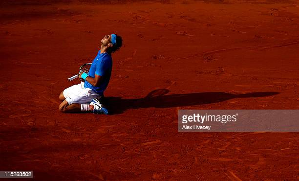 Rafael Nadal of Spain celebrates match point during the men's singles final match between Rafael Nadal of Spain and Roger Federer of Switzerland on...