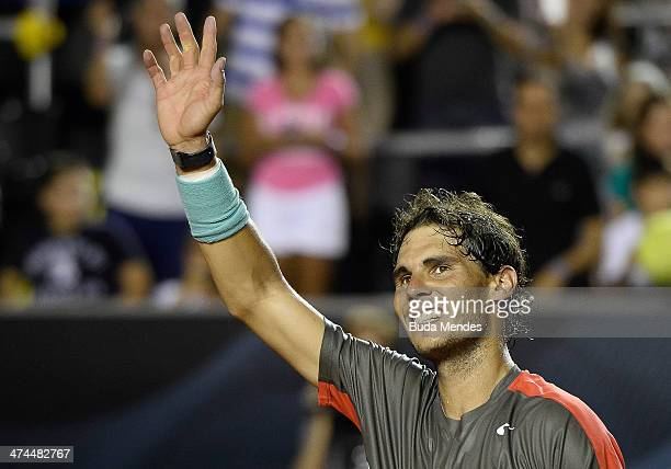 Rafael Nadal of Spain celebrates the victory and the title against Alexandr Dolgopolov of Ukraine during the ATP Rio Open 2014 at Jockey Club Rio de...