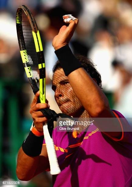 Rafael Nadal of Spain celebrates to the crowd after his straight sets victory against David Goffin of Belgium in their semi final round match on day...