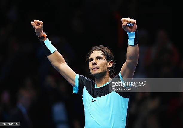 Rafael Nadal of Spain celebrates victory after his men's singles match against Stanislas Wawrinka of Switzerland during day two of the Barclays ATP...
