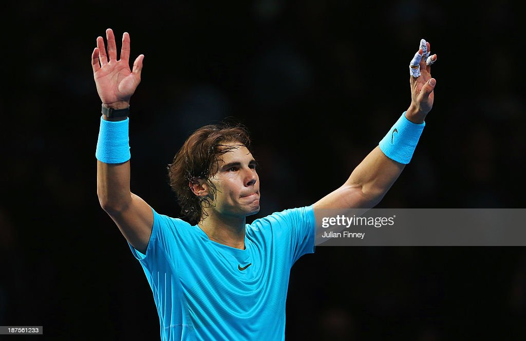 Rafael Nadal of Spain celebrates victory after his men's singles semi-final match against Roger Federer of Switzerland during day seven of the Barclays ATP World Tour Finals at O2 Arena on November 10, 2013 in London, England.