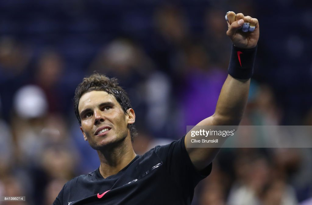 Rafael Nadal of Spain celebrates victory against Taro Daniel of Japan in their second round Men's Singles match on Day Four of the 2017 US Open at the USTA Billie Jean King National Tennis Center on August 31, 2017 in the Flushing neighborhood of the Queens borough of New York City.