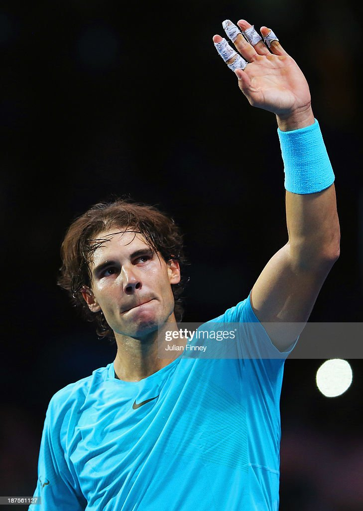 Rafael Nadal of Spain celebrates victory during his men's singles semi-final match against Roger Federer of Switzerland during day seven of the Barclays ATP World Tour Finals at O2 Arena on November 10, 2013 in London, England.
