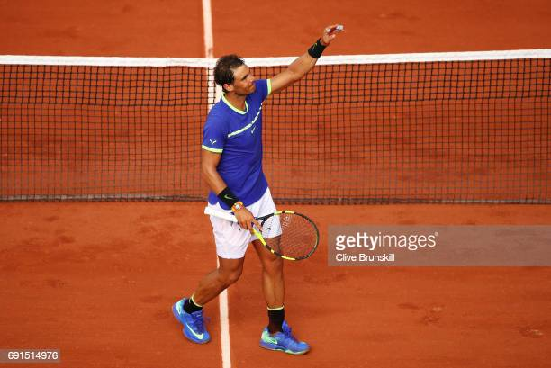 Rafael Nadal of Spain celebrates victory during the men's singles third round match against Nikoloz Basilashvili of Georgia on day six of the 2017...