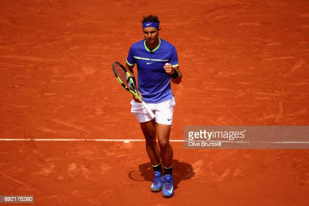 Rafael Nadal of Spain celebrates victory during the mens singles fourth round match against Roberto Bautista Agut of Spain on day eight of the 2017...