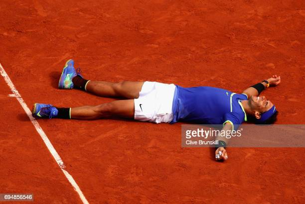 Rafael Nadal of Spain celebrates victory following the mens singles final against Stan Wawrinka of Switzerland on day fifteen of the 2017 French Open...