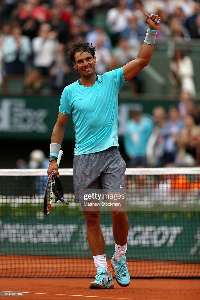 Rafael Nadal of Spain celebrates victory in his men's singles match against dominic thiem of Austria on day five of the French Open at Roland Garros on May 29, 2014 in Paris, France.