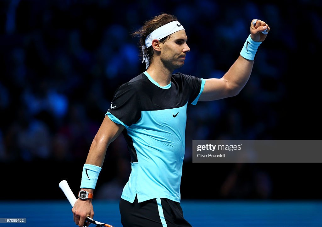 Rafael Nadal of Spain celebrates victory in his men's singles match against Andy Murray of Great Britain during day four of the Barclays ATP World Tour Finals at the O2 Arena on November 18, 2015 in London, England.