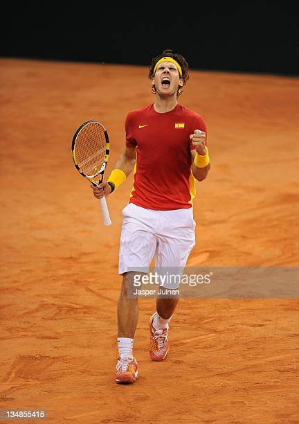 Rafael Nadal of Spain celebrates winning a breakpoint in the fourth set over Juan Martin del Potro of Argentina during the third and last day of the...