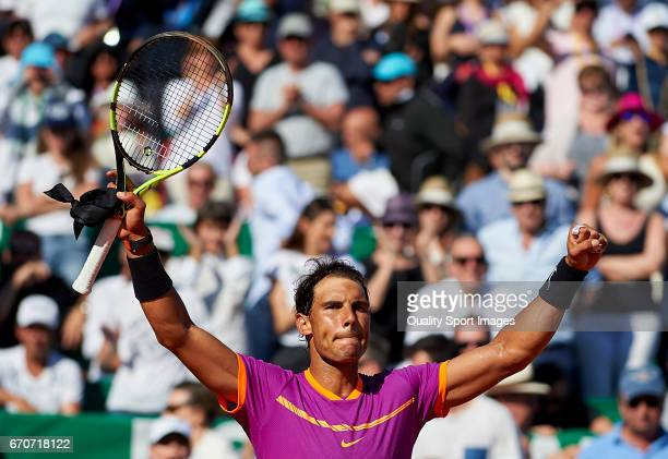 Rafael Nadal of Spain celebrates winning against Alexander Zverev of Germany during day five of the ATP Monte Carlo Rolex Masters Tennis at...