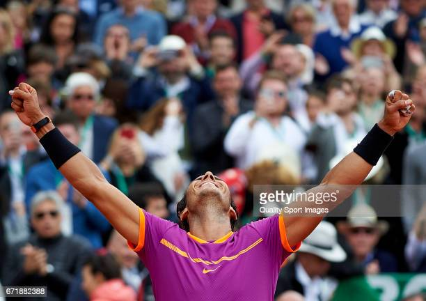 Rafael Nadal of Spain celebrates winning during his match against Albert RamosVinolas of Spain in the final during day eight of the ATP Monte Carlo...