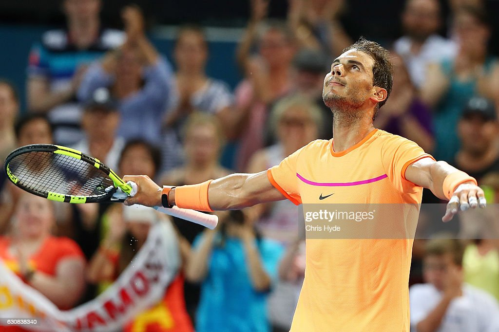 Rafael Nadal of Spain celebrates winning his match against Alexandr Dolgopolov of Ukraine on day three of the 2017 Brisbane International at Pat Rafter Arena on January 3, 2017 in Brisbane, Australia.