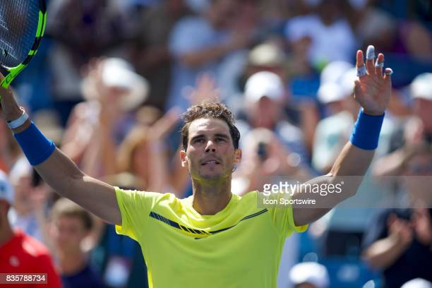 Rafael Nadal of Spain celebrates winning his match during a match in the Western Southern Open at the Lindner Family Tennis Center in Cincinnati OH