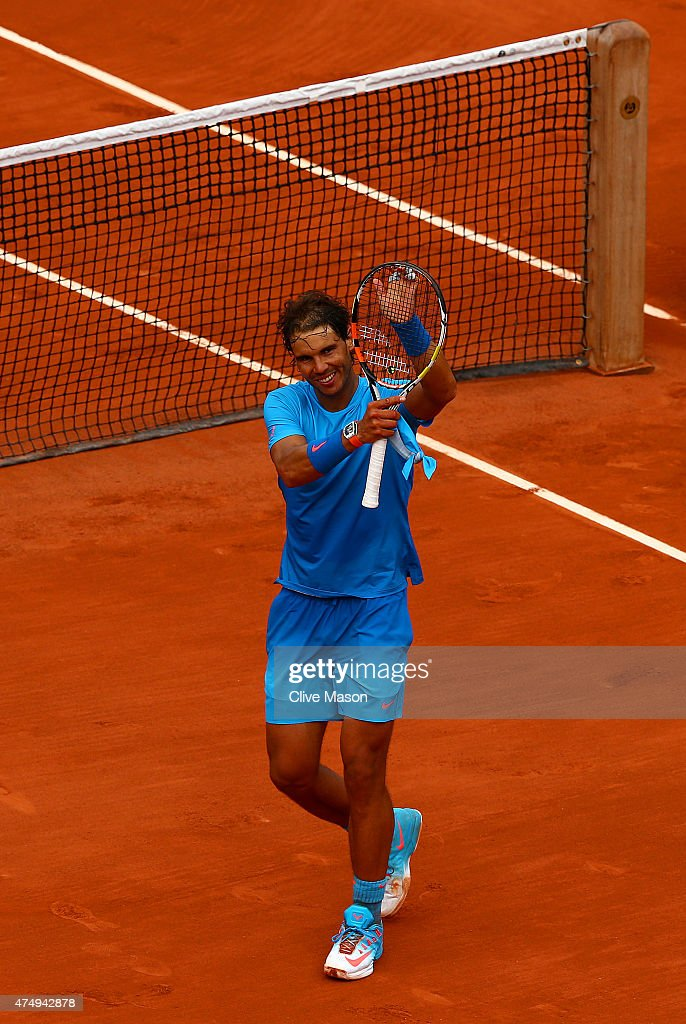 Rafael Nadal of Spain celebrates winning his Men's Singles match against Nicolas Almagro of Spain on day five of the 2015 French Open at Roland Garros on May 28, 2015 in Paris, France.