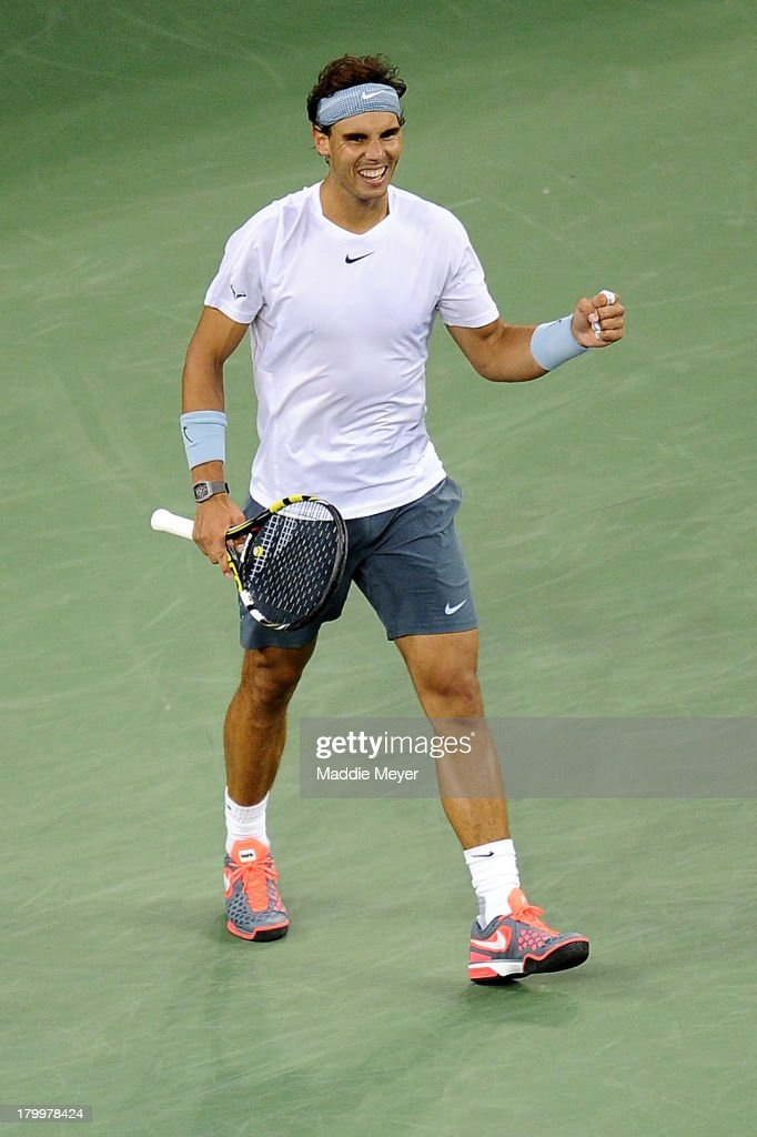 <a gi-track='captionPersonalityLinkClicked' href=/galleries/search?phrase=Rafael+Nadal&family=editorial&specificpeople=194996 ng-click='$event.stopPropagation()'>Rafael Nadal</a> of Spain celebrates winning his men's singles semifinal match against Richard Gasquet of France on Day Thirteen of the 2013 US Open at USTA Billie Jean King National Tennis Center on September 7, 2013 in the Flushing neighborhood of the Queens borough of New York City.