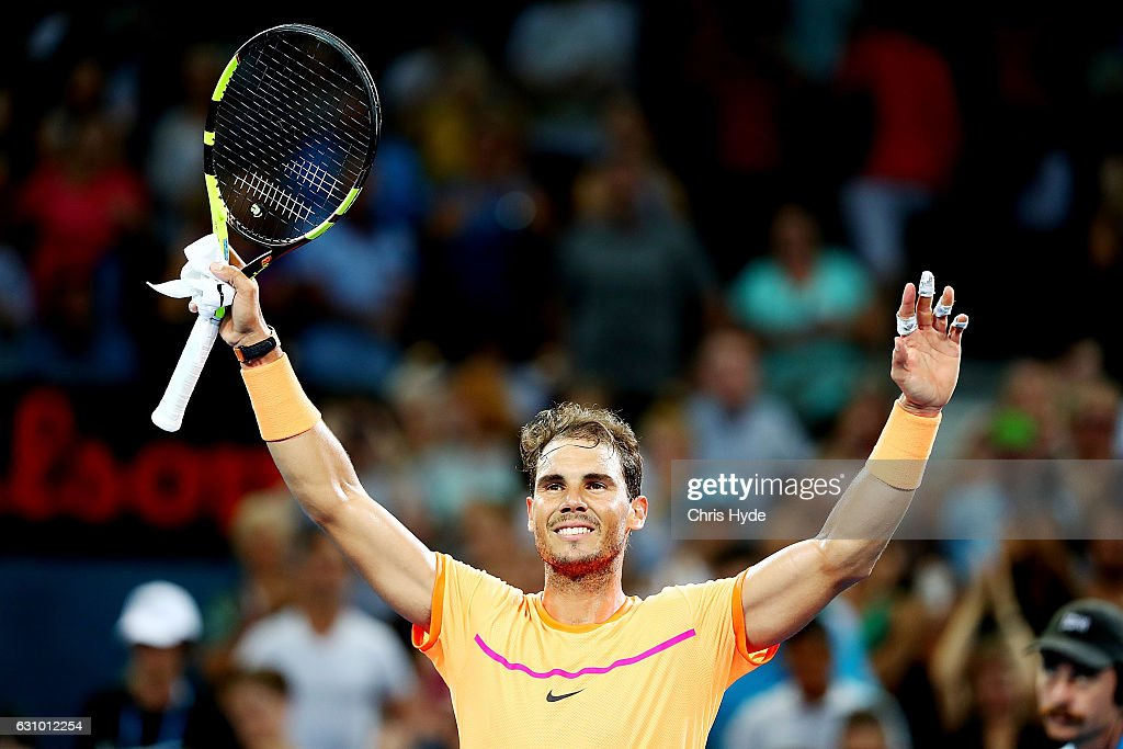 Rafael Nadal of Spain celebrates winning his quarter final match against Mischa Zverev of Germany during day five of the 2017 Brisbane International at Pat Rafter Arena on January 5, 2017 in Brisbane, Australia.