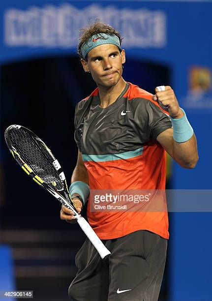 Rafael Nadal of Spain celebrates winning his second round match against Thanasi Kokkinakis of Australia during day four of the 2014 Australian Open...