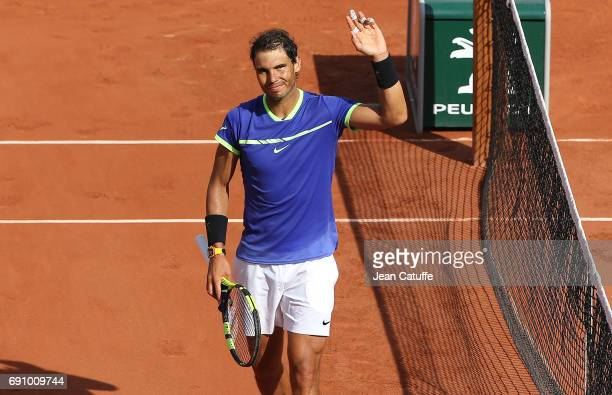 Rafael Nadal of Spain celebrates winning his second round match on day 4 of the 2017 French Open second Grand Slam of the season at Roland Garros...