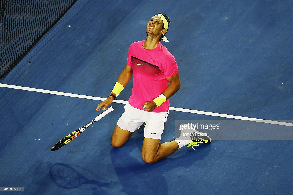 <a gi-track='captionPersonalityLinkClicked' href=/galleries/search?phrase=Rafael+Nadal&family=editorial&specificpeople=194996 ng-click='$event.stopPropagation()'>Rafael Nadal</a> of Spain celebrates winning his second round match against Tim Smyczek of USA during day three of the 2015 Australian Open at Melbourne Park on January 21, 2015 in Melbourne, Australia.