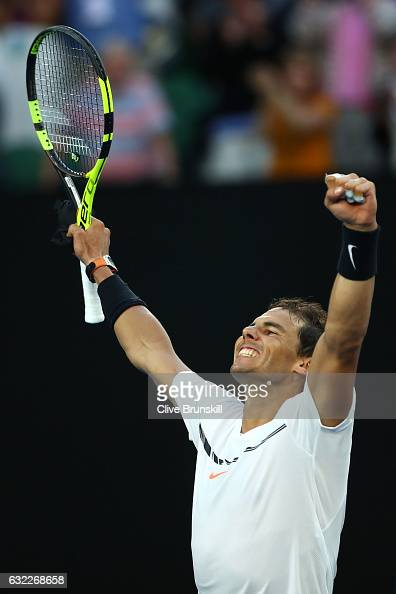 Rafael Nadal of Spain celebrates winning his third round match against Alexander Zverev of Germany on day six of the 2017 Australian Open at...
