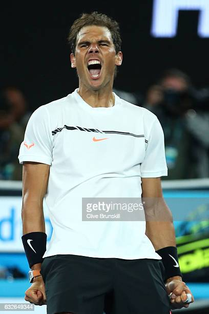 Rafael Nadal of Spain celebrates winning match point in his quarterfinal match against Milos Raonic of Canada on day 10 of the 2017 Australian Open...