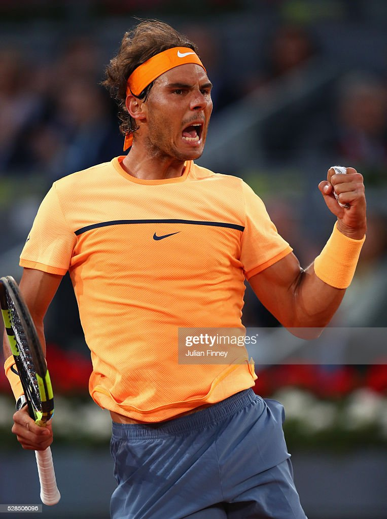 Rafael Nadal of Spain celebrates winning the first set against Sam Querrey of USA during day six of the Mutua Madrid Open tennis tournament at the Caja Magica on May 05, 2016 in Madrid, Spain.