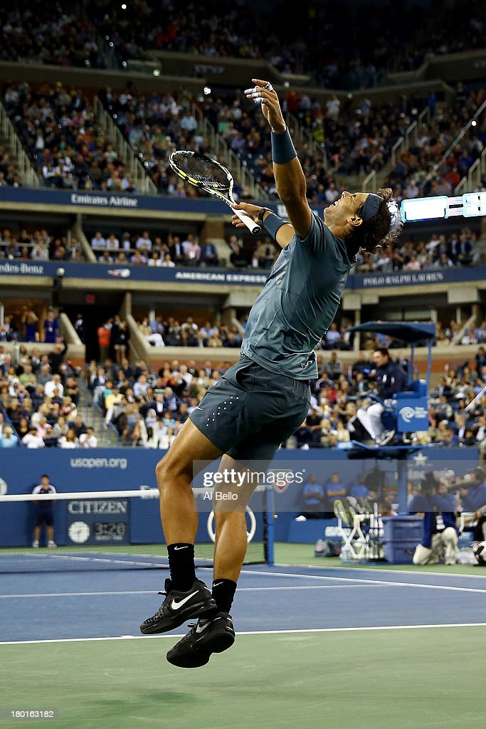 <a gi-track='captionPersonalityLinkClicked' href=/galleries/search?phrase=Rafael+Nadal&family=editorial&specificpeople=194996 ng-click='$event.stopPropagation()'>Rafael Nadal</a> of Spain celebrates winning the men's singles final match against Novak Djokovic of Serbia on Day Fifteen of the 2013 US Open at the USTA Billie Jean King National Tennis Center on September 9, 2013 in the Flushing neighborhood of the Queens borough of New York City.