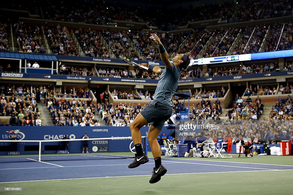 Rafael Nadal of Spain celebrates winning the men's singles final match against Novak Djokovic of Serbia on Day Fifteen of the 2013 US Open at the USTA Billie Jean King National Tennis Center on September 9, 2013 in the Flushing neighborhood of the Queens borough of New York City.
