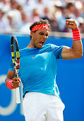 Rafael Nadal of Spain celebrates winning the second set in his men's singles first round match against Alexandr Dolgopolov of Ukraine during day two...