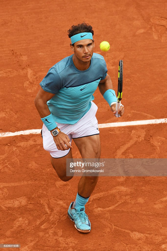 Rafael Nadal of Spain chases down the ball during the Men's Singles first round match against Sam Groth of Australia on day three of the 2016 French Open at Roland Garros on May 24, 2016 in Paris, France.