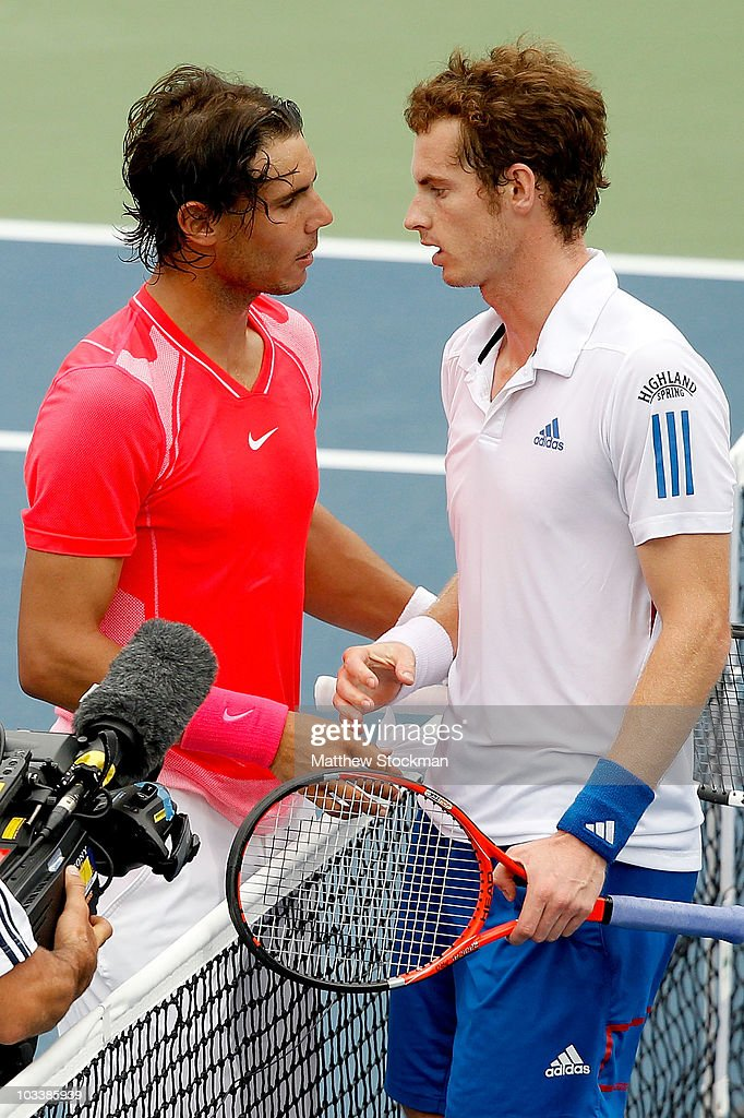 <a gi-track='captionPersonalityLinkClicked' href=/galleries/search?phrase=Rafael+Nadal&family=editorial&specificpeople=194996 ng-click='$event.stopPropagation()'>Rafael Nadal</a> of Spain congratulates <a gi-track='captionPersonalityLinkClicked' href=/galleries/search?phrase=Andy+Murray+-+Tennis+Player&family=editorial&specificpeople=200668 ng-click='$event.stopPropagation()'>Andy Murray</a> of Great Britain after their match during the semifinals of the Rogers Cup at the Rexall Centre on August 14, 2010 in Toronto, Canada.