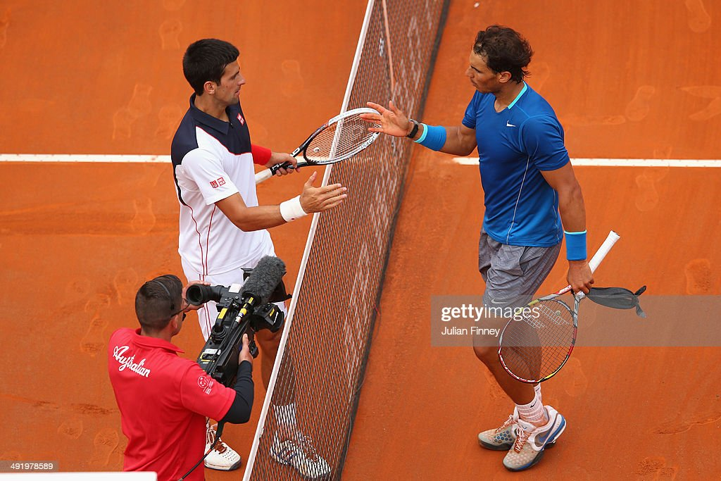 Rafael Nadal of Spain congratulates Novak Djokovic of Serbia after winning in the final during day eight of the Internazionali BNL d'Italia tennis 2014 on May 18, 2014 in Rome, Italy.