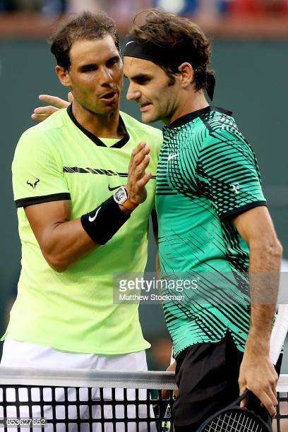 Rafael Nadal of Spain congratulates Roger Federer of Switzerland during the BNP Paribas Open at the Indian Wells Tennis Garden on March 15 2017 in...