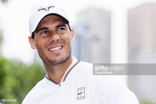 Rafael Nadal of Spain during a Kia Key handover ceremony at Garden Square in Melbourne Park January 15 2017 in Melbourne Australia