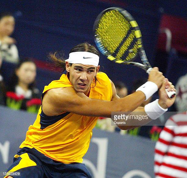 Rafael Nadal of Spain during his victory over Nicolay Davydenko of Russia in round robin play at the Tennis Masters Cup Shanghai China on November 17...