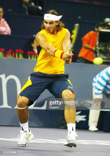 Rafael Nadal of Spain during semifinals match against Roger Federer of Switzerland at the Tennis Masters Cup in Shanghai China on November 18 2006