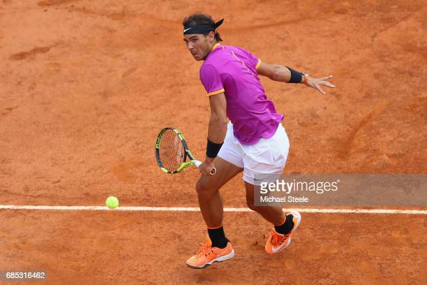 Rafael Nadal of Spain during the men's quarterfinal match against Dominic Thiem of Austria on Day Six of the Internazionali BNL d'Italia 2017 at Foro...