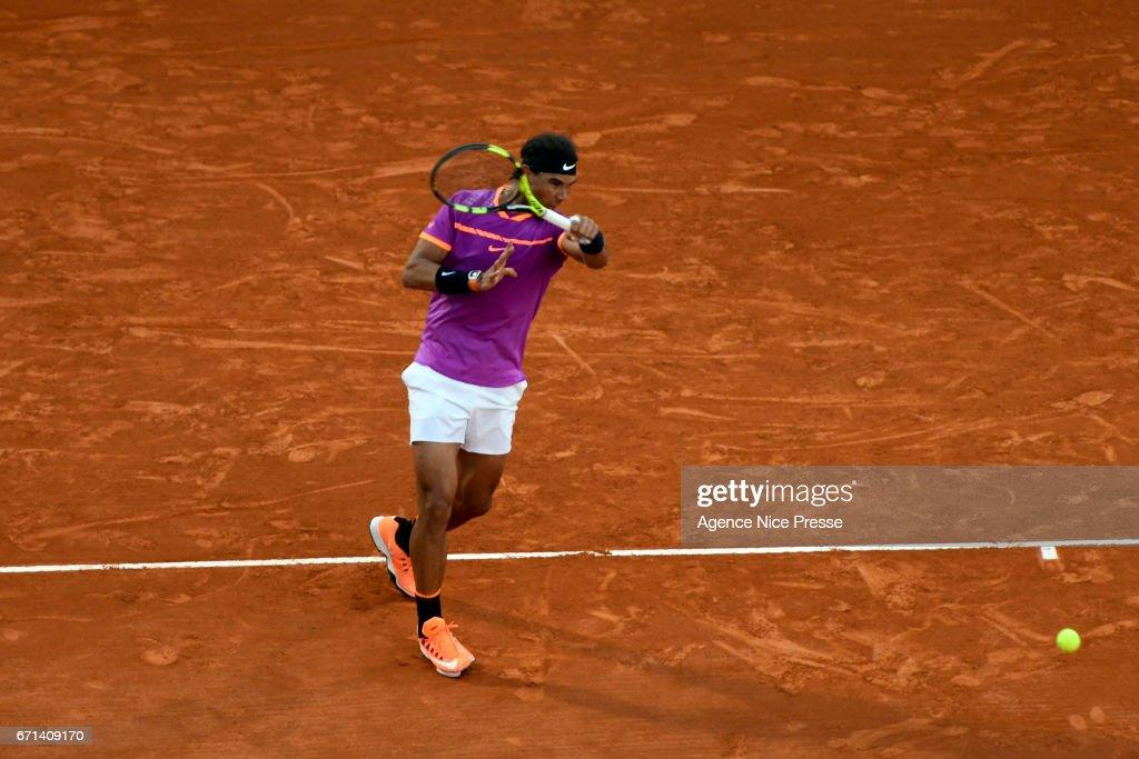 Rafael Nadal of Spain during the Monte Carlo Rolex Masters 2017 on April 21, 2017 in Monaco, Monaco.