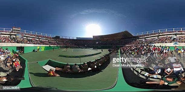 Rafael Nadal of Spain during the singles bronze medal match against Kei Nishikori of Japan on Day 9 of the Rio 2016 Olympic Games at the Olympic...