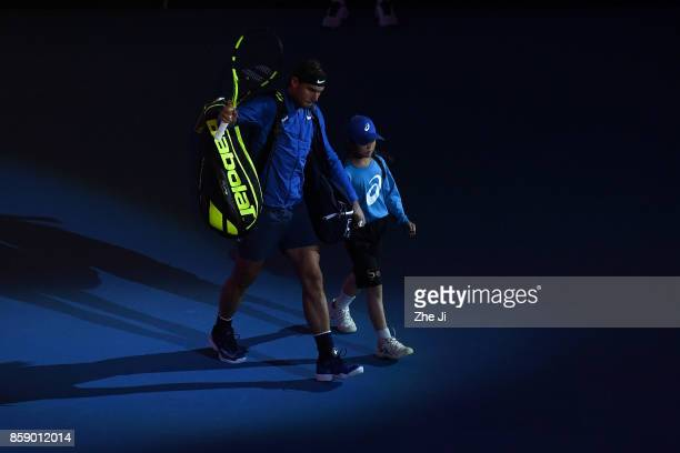 Rafael Nadal of Spain enters the tennis court during the Men's Singles final against Nick Kyrgios of Australia on day nine of the 2017 China Open at...