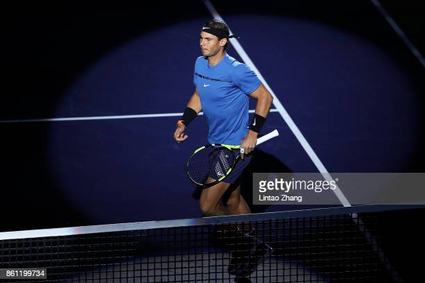 Rafael Nadal of Spain enters the tennis court during the Men's singles Semifinal mach against Marin Cilic of Coratia on day seven of 2017 ATP...