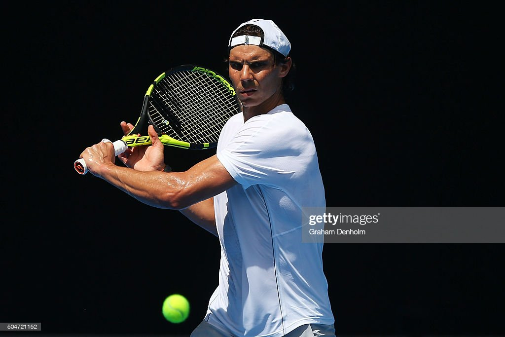Rafael Nadal of Spain hits a backhand during a practice session ahead of the 2016 Australian Open at Melbourne Park on January 13 2016 in Melbourne...