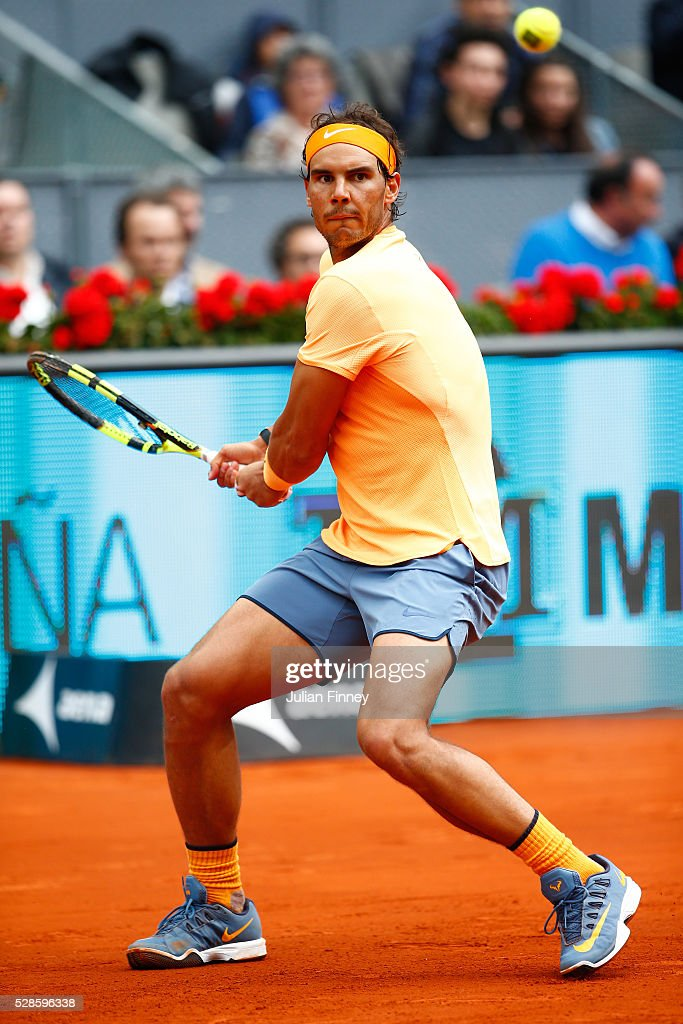 Rafael Nadal of Spain hits a backhand during the Men's Singles Quarter Final match against Joao Sousa of Portugal during day seven of the Mutua Madrid Open at La Caja Magica on May 6, 2016 in Madrid, Spain.