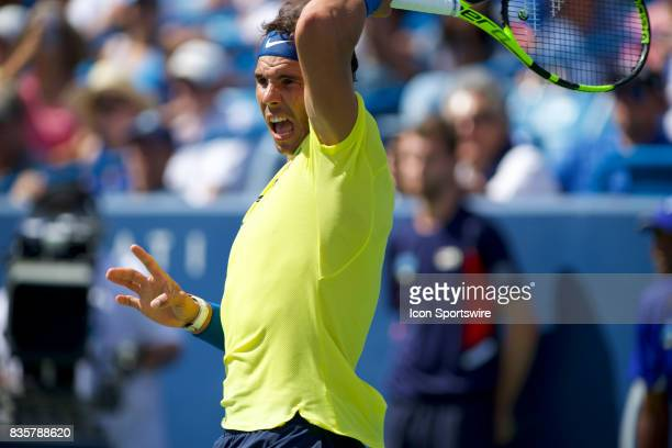 Rafael Nadal of Spain hits a forehand during a match in the Western Southern Open at the Lindner Family Tennis Center in Cincinnati OH