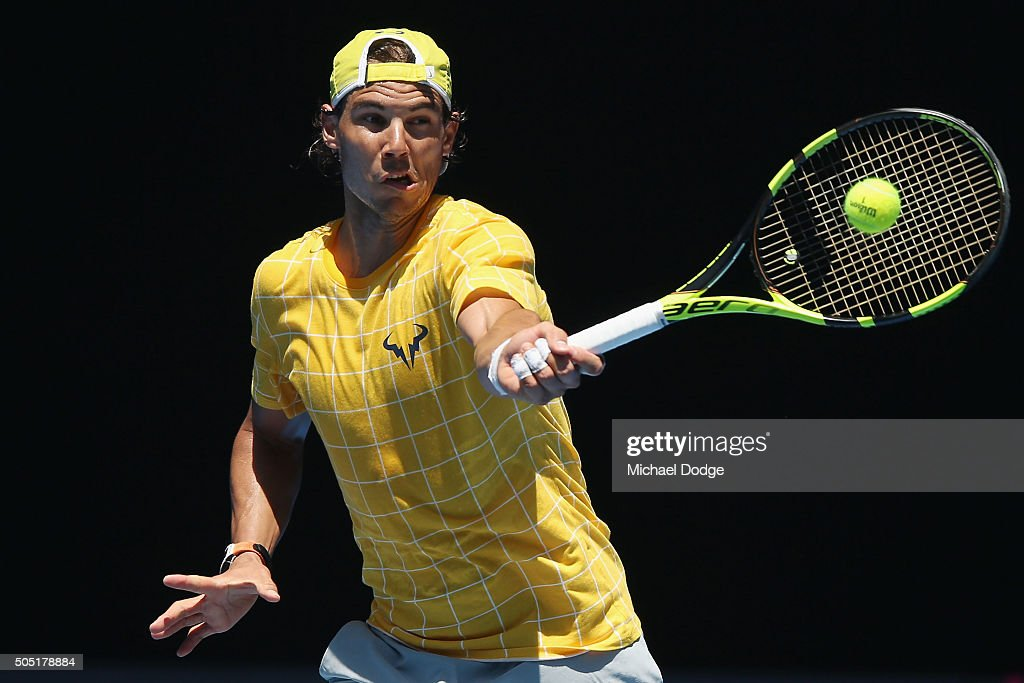 Rafael Nadal of Spain hits a forehand during a practice session ahead of the 2016 Australian Open at Melbourne Park on January 16, 2016 in Melbourne, Australia.