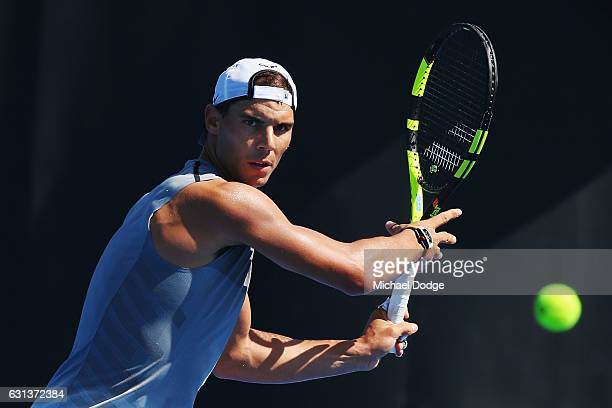 Rafael Nadal of Spain hits a forehand during a practice session ahead of the 2017 Australian Open at Melbourne Park on January 10 2017 in Melbourne...